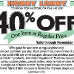 Hobby Lobby Early Cyber Monday Deals. Sitewide Coupon 40% Off Regular Price