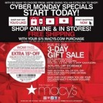 Macy's Cyber Monday deals 2013. Sleepwear, Dresses, Boots or Bags Sale