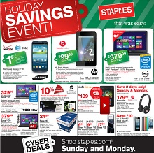 Staples Cyber Monday 2013 Sales